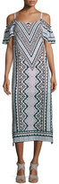 Nanette Lepore Cold-Shoulder Chevron Midi Dress, Natural/Multi