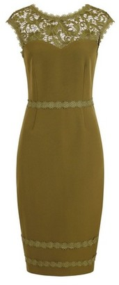Dorothy Perkins Womens Paper Dolls Khaki Lace Bodycon Midi Dress, Khaki