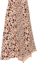 Theory Asymmetric Floral-print Silk Crepe De Chine Skirt - Pink