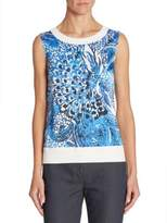St. John Floral Printed Shell Top