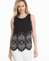 White House Black Market Black & White Embroidered Shell Top