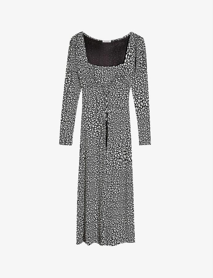 Topshop Lace-front star-print jersey midi dress