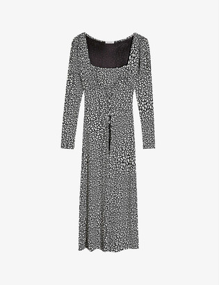 Topshop Lace-front star-print jersey midi dress