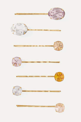 Jennifer Behr Nora Set Of Seven Gold-tone Crystal Hair Slides - one size