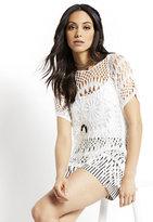 New York & Co. Crochet Fringe-Trim Top