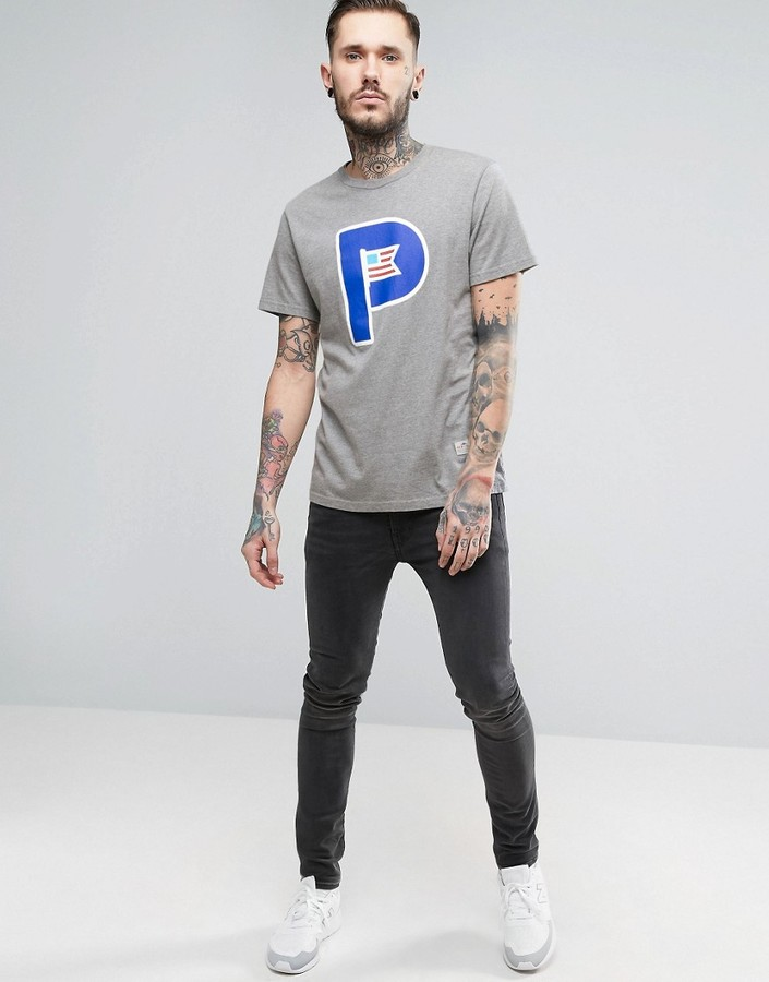 Penfield Powell Large P Logo T-Shirt in Gray Marl