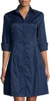 Neiman Marcus Jordon Cotton Shirtdress, Navy