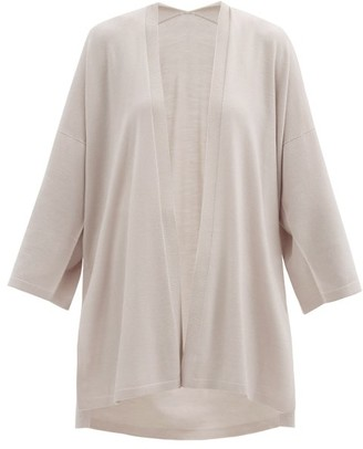 Wolford Aurora Longline Wide-sleeve Wool Cardigan - Light Grey