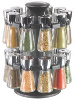 Cole & Mason Hudson 20-Jar Filled Herb and Spice Carousel/Rack Plastic and Glass - Black