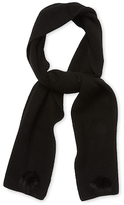 Portolano Body in Full Needle Rib Scarf with Rabbit Fur Rosette on Opposite Corners, 2ply