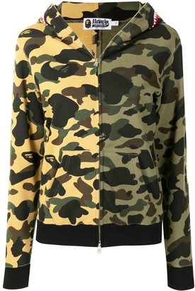 A Bathing Ape Two-Tone Camo Shark Cotton Hoodie