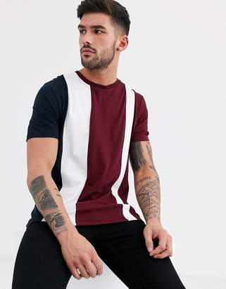 Burton Menswear t-shirt with cut & sew in burgundy-Red