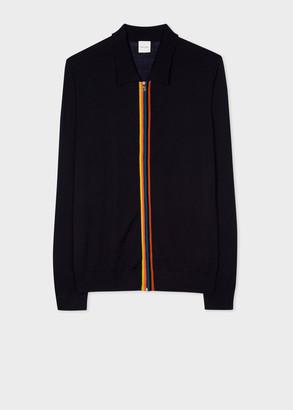 Paul Smith Men's Black Merino Wool Zip-Through Collared Cardigan