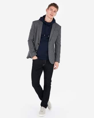 Express Slim Grey Double Knit Micropattern Blazer