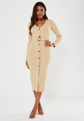 Missguided Stone Belted Button Through Ribbed Midi Dress