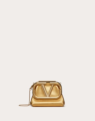 Valentino Mini Supervee Metallic Nappa Clutch Women Soft Gold Lambskin 100% OneSize