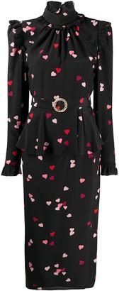 Alessandra Rich All-Over Heart Print Peplum Dress