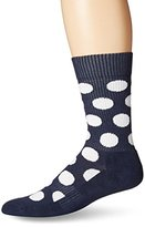 Happy Socks Men's 1pk Combed Cotton 1/2 Terry Crew-Navy Big Dot