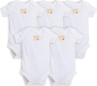 Burt's Bees Baby - Set of 5 Bee Essentials Solid Short Sleeve Bodysuits 100% Organic Cotton Cloud (0-3 Months)