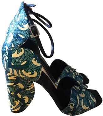 Dries Van Noten Green Leather Sandals