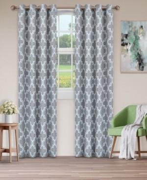 "Superior Soft Quality Woven, Bohemian Trellis Blackout Thermal Grommet Curtain Panel Pair, Set of 2, 52"" x 63"""