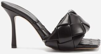Bottega Veneta Lido Intrecciato Woven Leather Mules - Black