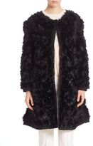 Agnona Wool & Rabbit Fur Embroidered Coat