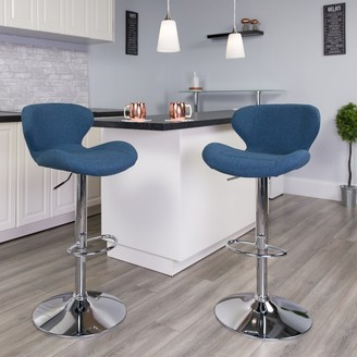 Lancaster Home 2 Pack Contemporary Vinyl Adjustable Barstool with Curved Back & Chrome Base