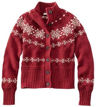 L.L. Bean Women's Signature Cotton Fisherman Sweater, Short Cardigan Fair Isle