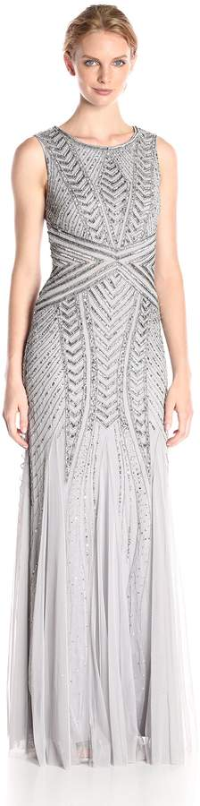 Adrianna Papell Women's Sleeveless Fully Beaded Geometric Gown