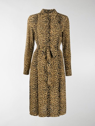 Saint Laurent Leopard-Print Shirt Dress
