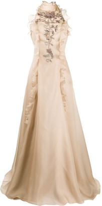 Parlor Embroidered Open Back Gown