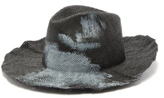 Bonica Reinhard Plank Hats Painted Straw Fedora - Womens - Black White