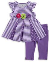 Kids Headquarters Girls 2-6x Little Girls Striped Dress and Leggings Set