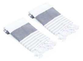 Olive and Linen Multicolor Stripe Turkish Hand/Kitchen Towel Set of 2 Bedding