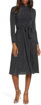 Eliza J Glitter Long Sleeve Mock Neck Dress