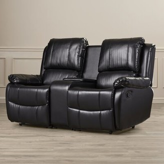 Darby Home Co Sackville Home Theater Loveseat Row of 2 Darby Home Co Upholstery Color: Black