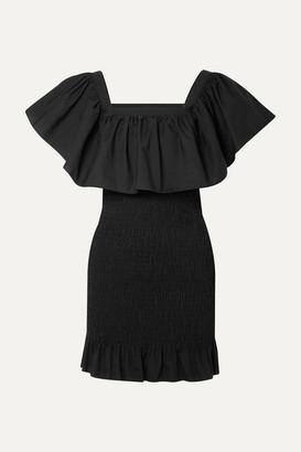 Solid & Striped Ruffled Smocked Cotton-poplin Mini Dress - Black