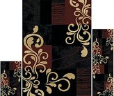 Dynamix Home Ariana Collection 3-Piece Area Rug Set HD1879 502 Ebony/Brown