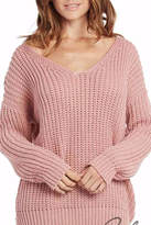 Elan International Lace Up Mauve Sweater