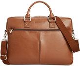 Perry Ellis Zip-Top Leather Briefcase
