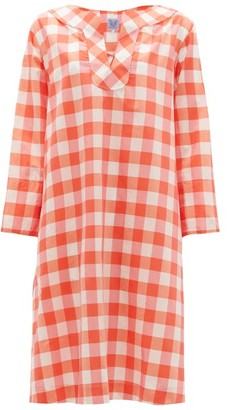 Thierry Colson Samia Sailor-collar Cotton-blend Gingham Dress - Pink Multi