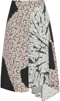 Cédric Charlier Wrap-Effect Printed Satin-Twill Midi Skirt