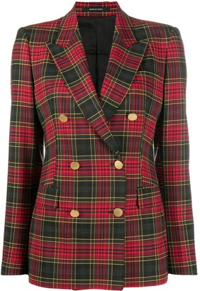 Tagliatore Double-Breasted Tartan Check Blazer