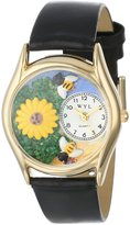 Whimsical Watches Women's C1211002 Classic Gold Sunflower Black Leather And Goldtone Watch