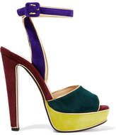 Christian Louboutin Louloudance Color-block Suede Sandals - Royal blue