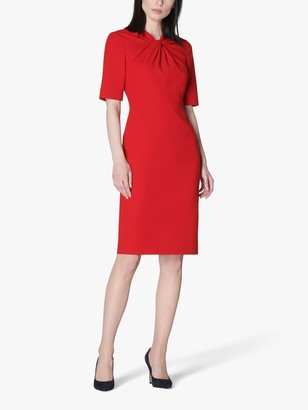LK Bennett Caterina Twist Neck Knee Length Dress, Deep Red