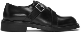 Prada Black Belt Strap Lace-Up Derbys