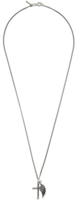 Emanuele Bicocchi Silver Wing and Cross Necklace