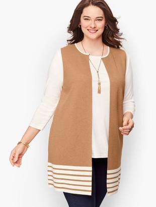 Talbots Plus Size Striped Milano Knit Vest